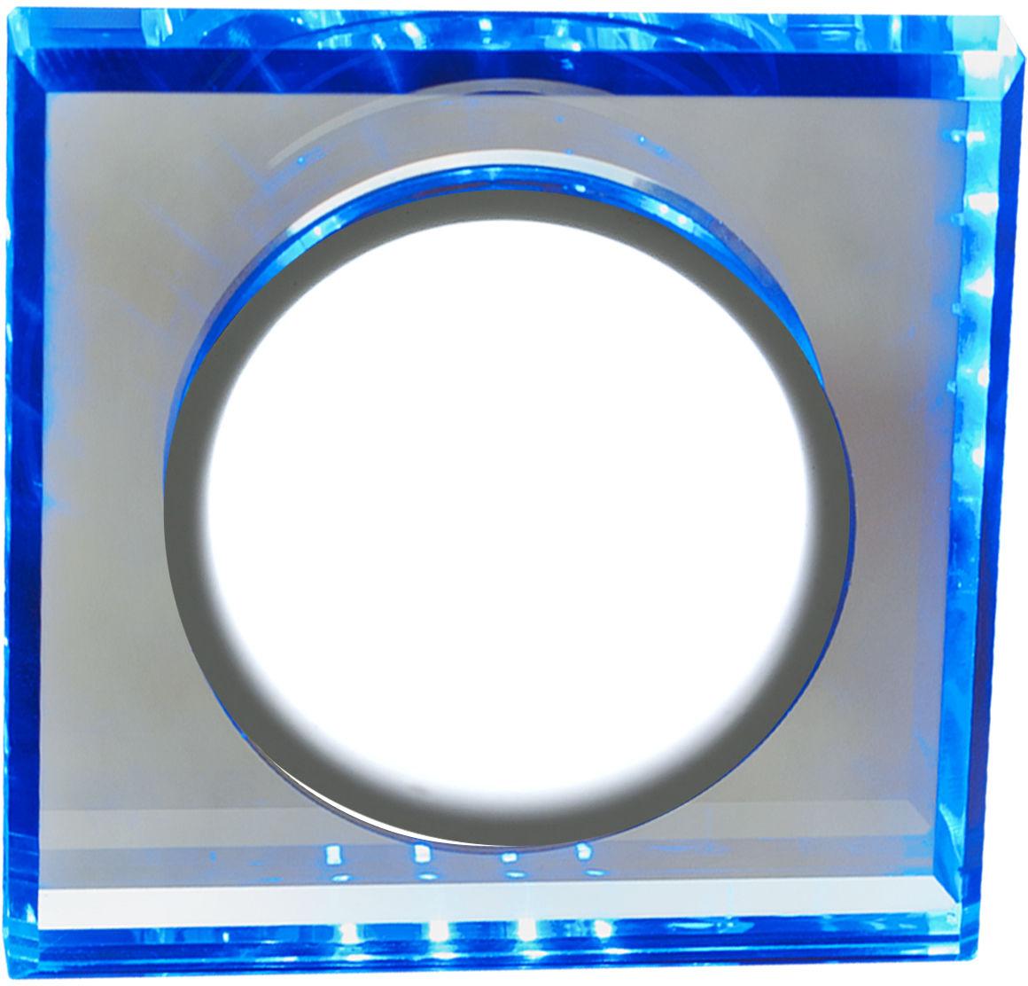 Candellux SSP-22 CH/TR+BL 2263892 oprawa do wbudowania stropowa 8W LED 230V ring LED niebieski oczko sufitowe kwadratowa szkło