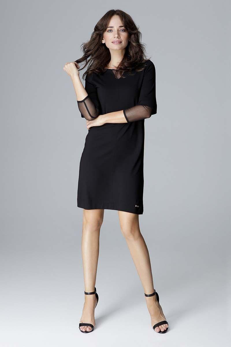 Czarna wizytowa prosta sukienka z tiulowymi detalami