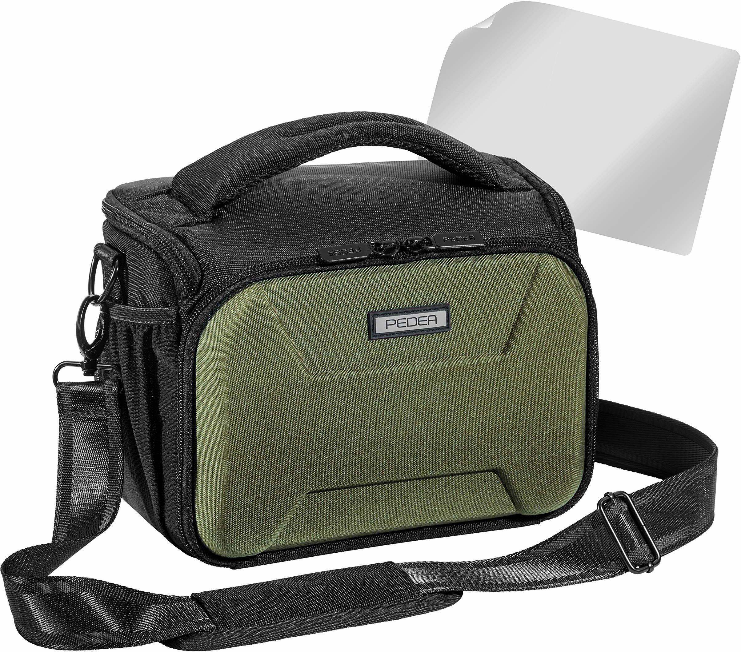 """PEDEA DSLR torba na aparat""""Guard"""" z folią ochronną na wyświetlacz do Canon EOS 5D Mark II 400D 2000D / Nikon D60 D80 D90 D3100 D3200 D3300 D3400 D5300 D7100 / Pentax K 50 K 500, Rozmiar XL zielony"""