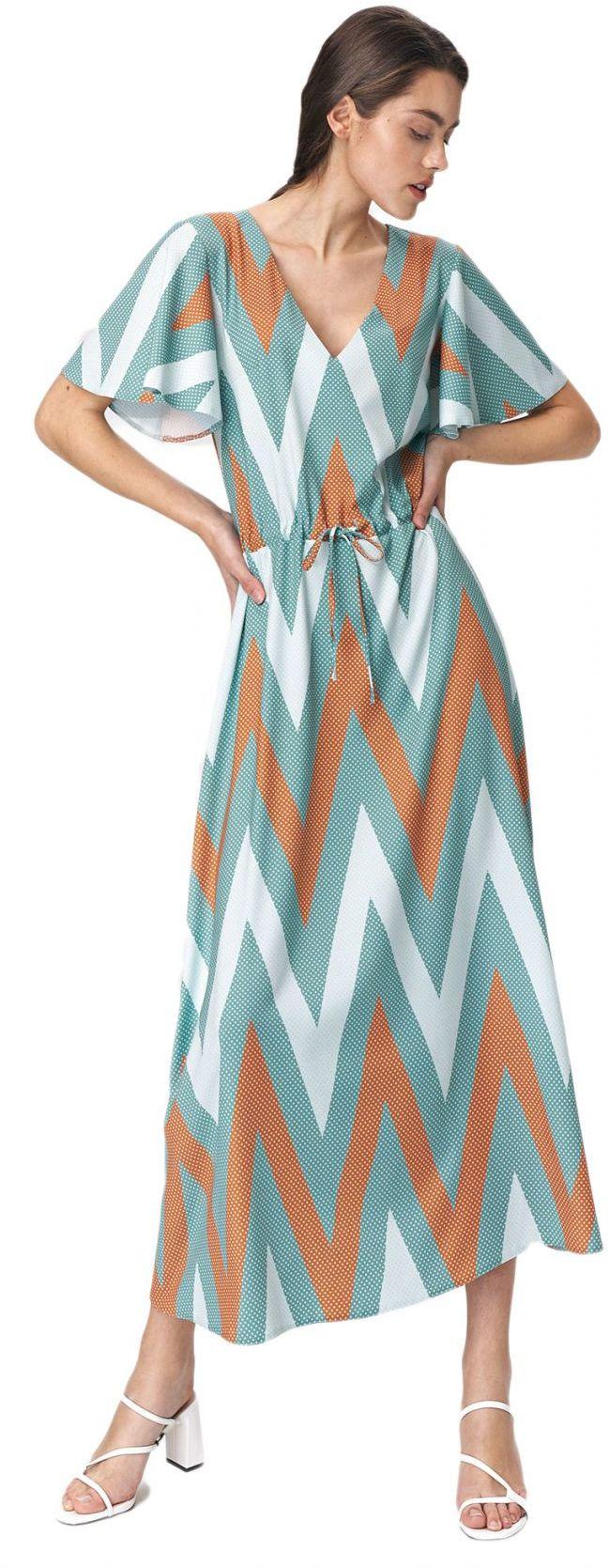 Turkusowa sukienka maxi z rozkloszowanymi rękawami - zygzak - S141