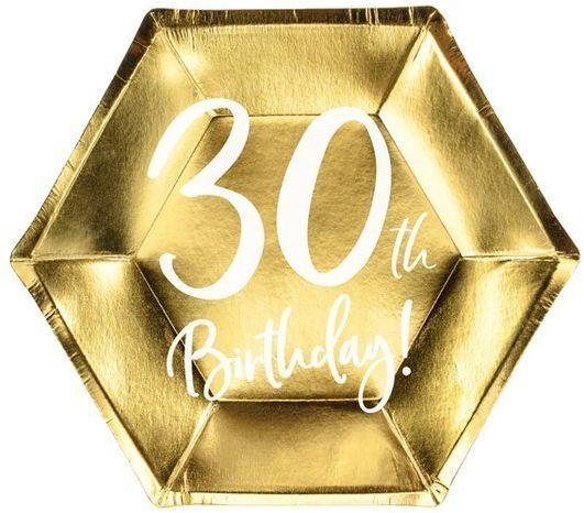 Talerzyki papierowe 30th Birthday złote 20cm 6 sztuk TPP73-30-019M