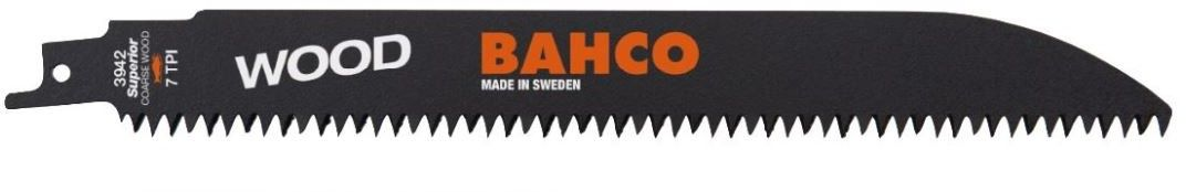 brzeszczot bagnetowy do piły szablastej, do drewna, 228mm, 7 zębów/cal, WOOD, Bahco [3942-228-7-HSL-10P]