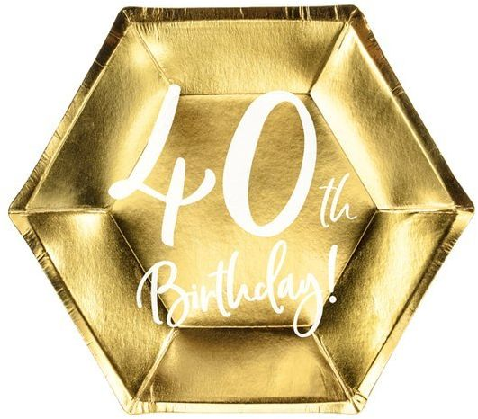 Talerzyki papierowe 40th Birthday złote 20cm 6 sztuk TPP73-40-019M