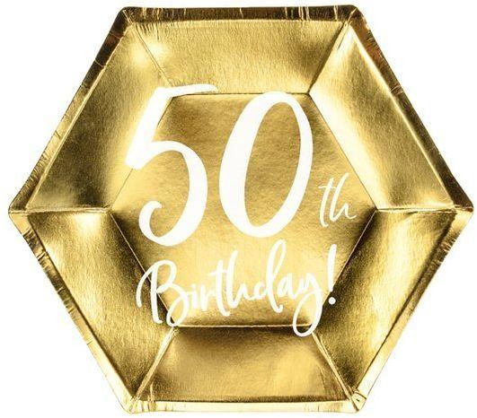 Talerzyki papierowe 50th Birthday złote 20cm 6 sztuk TPP73-50-019M