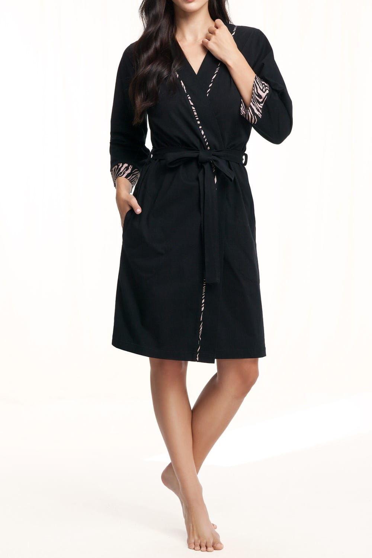 Bawełniany szlafrok damski LUNA 364 czarny