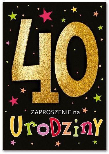 Zaproszenie na 40 urodziny brokatowe z kopertą 1szt. ZZ6822
