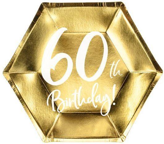 Talerzyki papierowe 60th Birthday złote 20cm 6 sztuk TPP73-60-019M