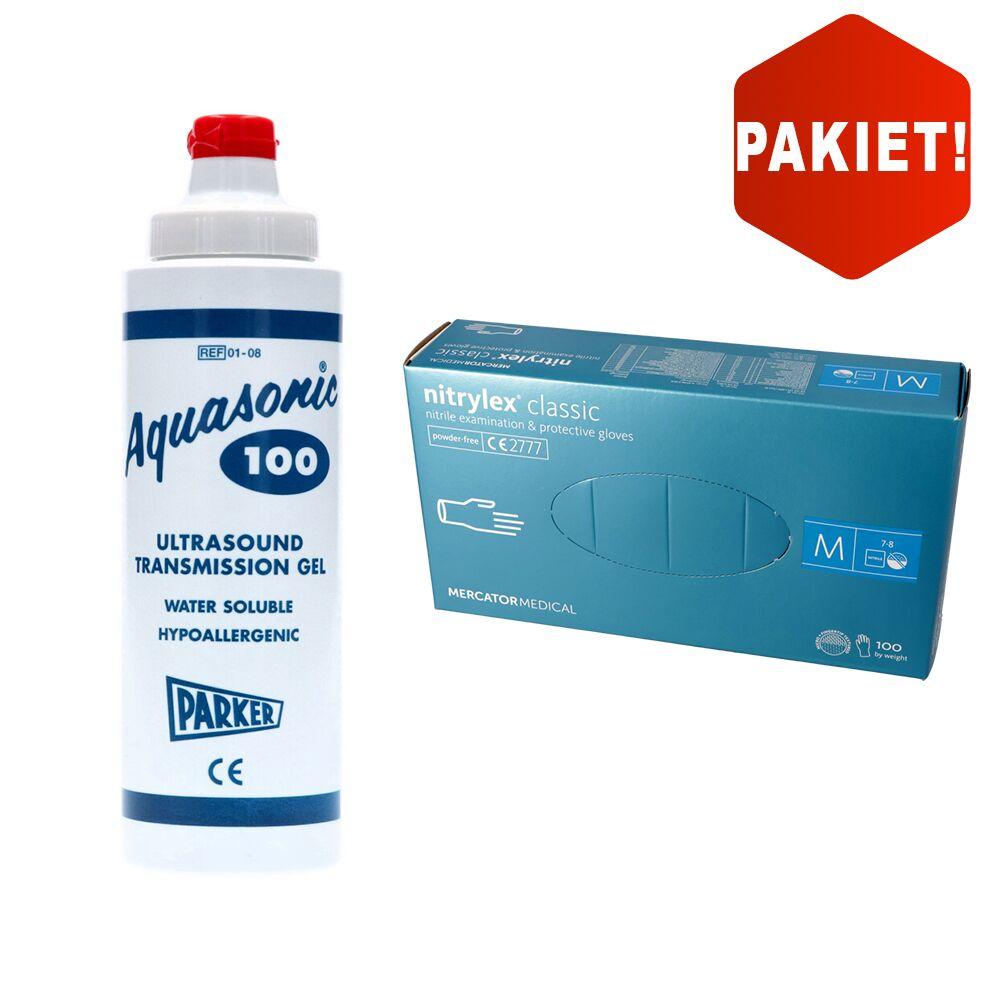 Pakiet! Żel do USG AQUASONIC 100 + Rękawice nitrylowe Mercator Medical nitrylex classic