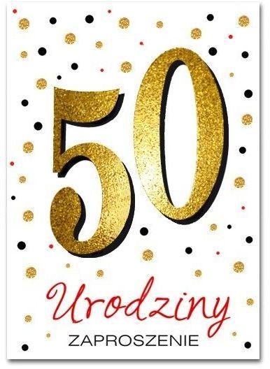 Zaproszenie na 50 urodziny brokatowe z kopertą 1szt. ZZ6820