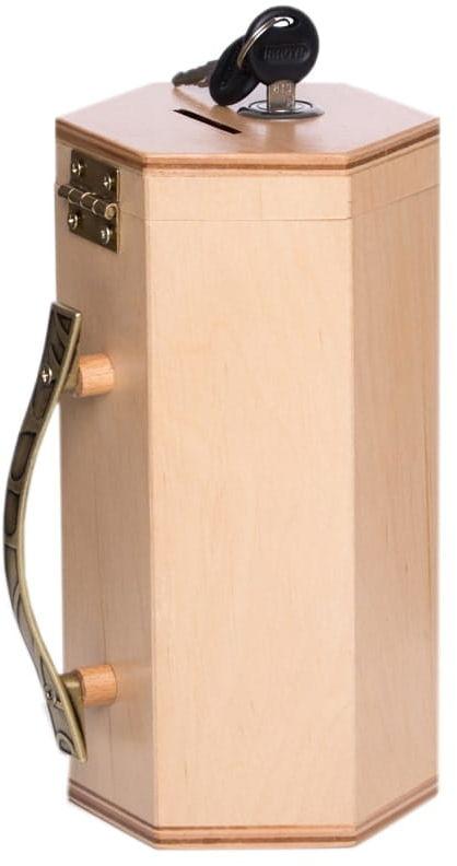 Drewniana skarbonka na datki z kluczykiem