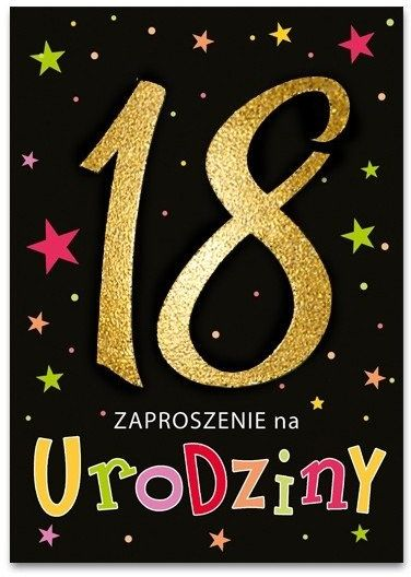 Zaproszenie na 18 urodziny brokatowe z kopertą 1szt. ZZ6821