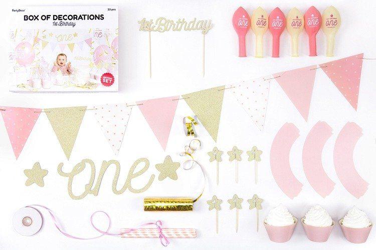 Zestaw dekoracji na Roczek dziewczynki 1st Birthday SET6-019