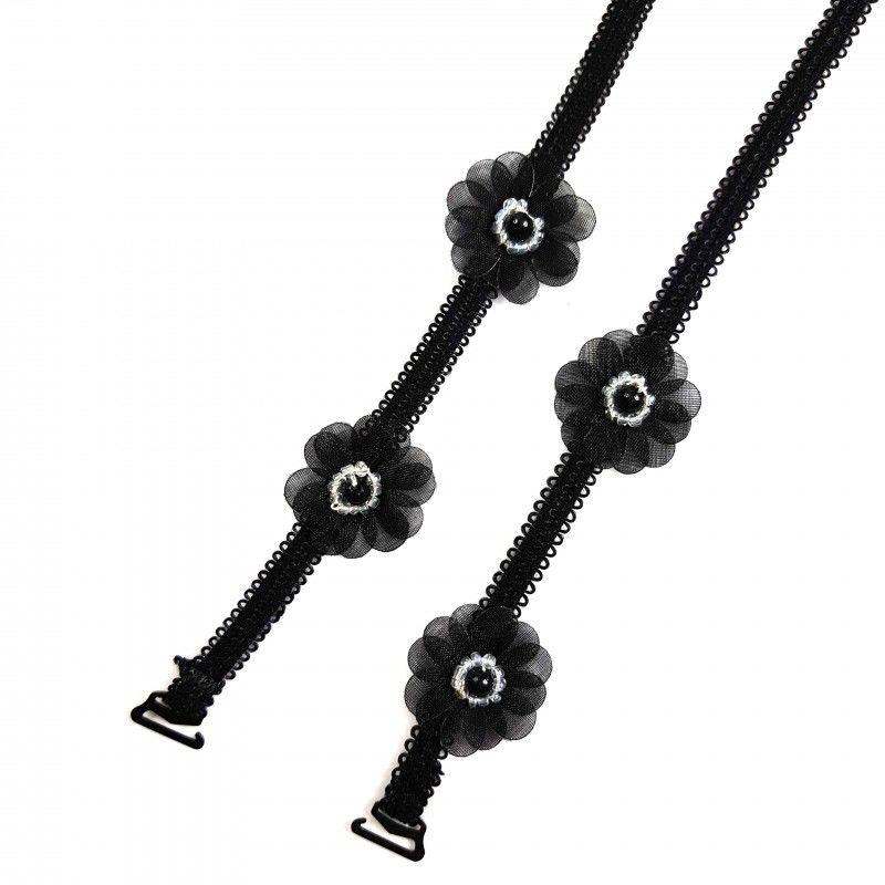 Ozdobne ramiączka do biustonosza czarne kwiaty BS000816