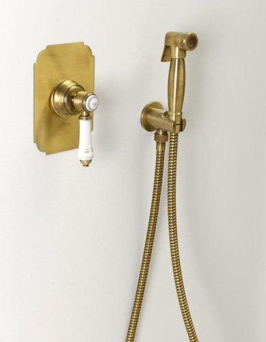 Podtynkowa bateria bidetowa +Słuchawka bidetowa z wężem 120cm oraz uchwytem z wyjściem wody RETRO, brąz