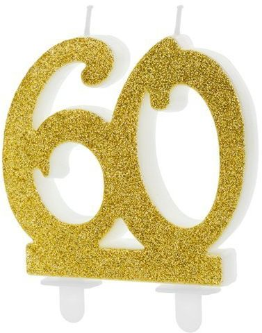 Świeczka 60 brokatowa złota 7,5cm SCU5-60-019