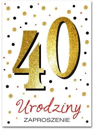 Zaproszenia na 40 urodziny brokatowe z kopertą 10 sztuk ZZ6819-10
