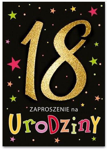 Zaproszenia na 18 urodziny osiemnastkę brokatowe czarne + koperty 10 sztuk ZB6821-10