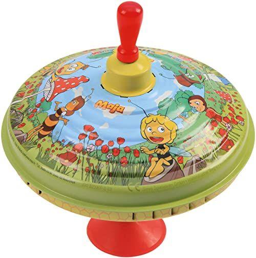 Lena 52230 puszka Ø 19 cm, klasyczne działanie pompki, metalowy motyw pszczółki Maja z podstawką, zabawka dla dzieci od 18 miesięcy