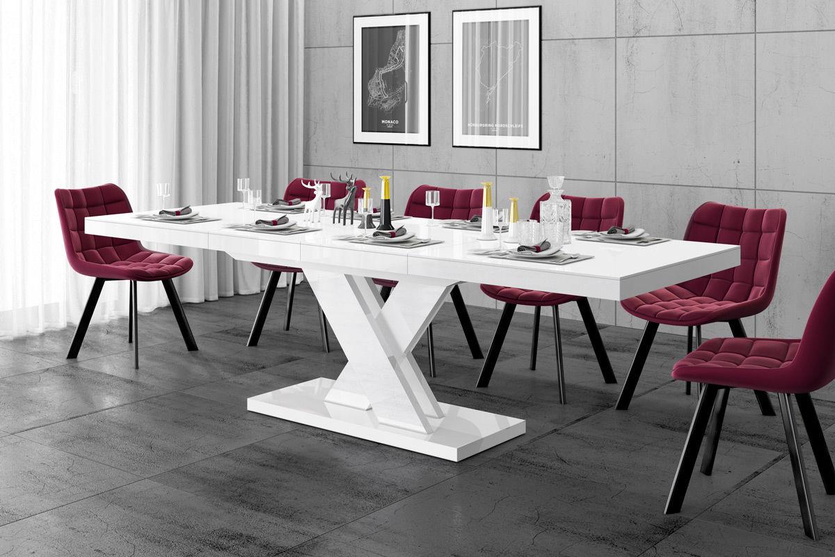 Stół rozkładany Xenon LUX biały wysoki połysk