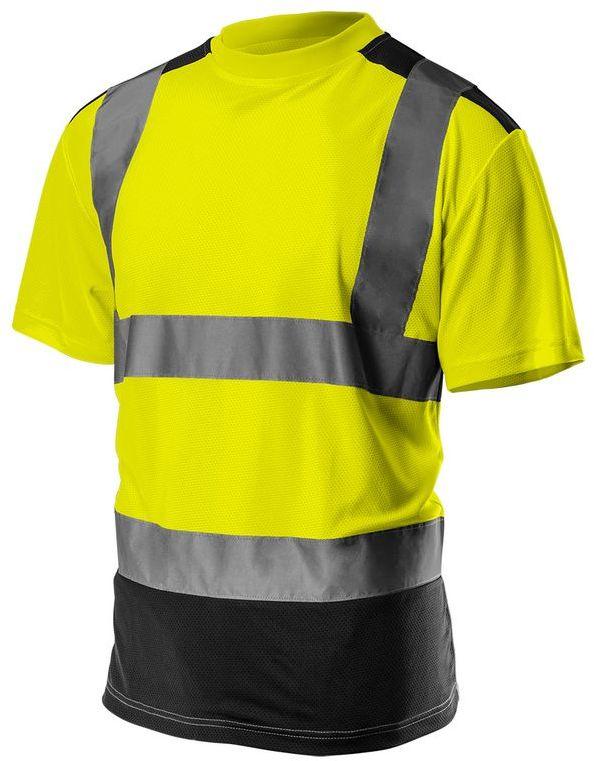 T-shirt ostrzegawczy, ciemny dół, żółty, rozmiar XL 81-730-XL