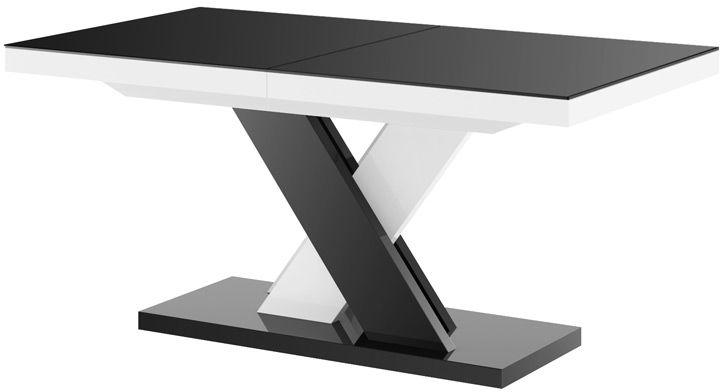 Stół rozkładany XENON LUX Czarno-biały (nogi mieszane) wysoki połysk
