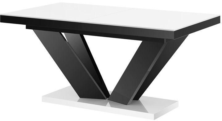 Stół rozkładany VIVA 2 biało-czarny wysoki połysk