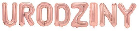 Balony foliowe napis Urodziny 40 cm różowe złoto 460324