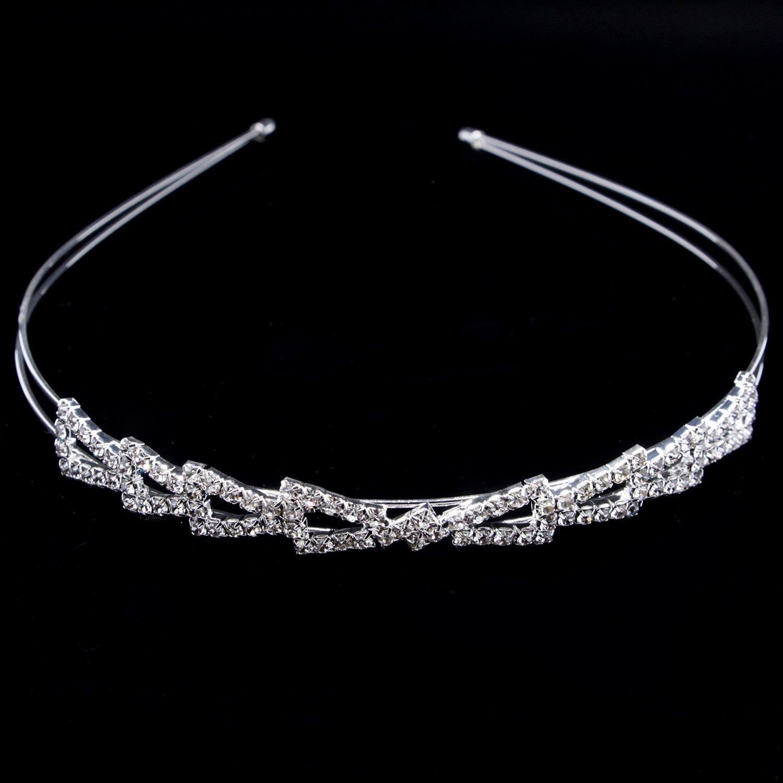 Opaska ślubna do włosów diadem srebrna cyrkonie