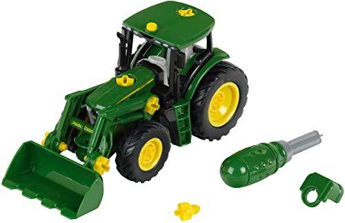 Theo Klein 3903 Traktor John Deere Z ładowaczem przednim i przeciwwagą Elementy możliwe do zdemontowania Wymiary: 24,5 cm x 9,5 cm x 12 cm Zabawka przeznaczona dla dzieci powyżej 3. roku życia