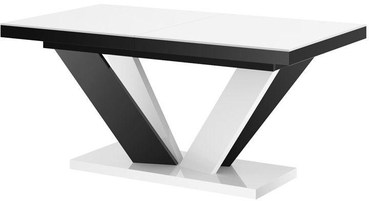 Stół rozkładany VIVA 2 biało-czarny (nogi mieszane) wysoki połysk