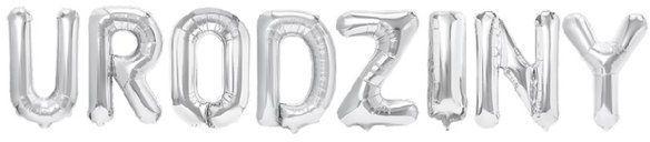 Balony foliowe napis Urodziny 40 cm srebrne 460323