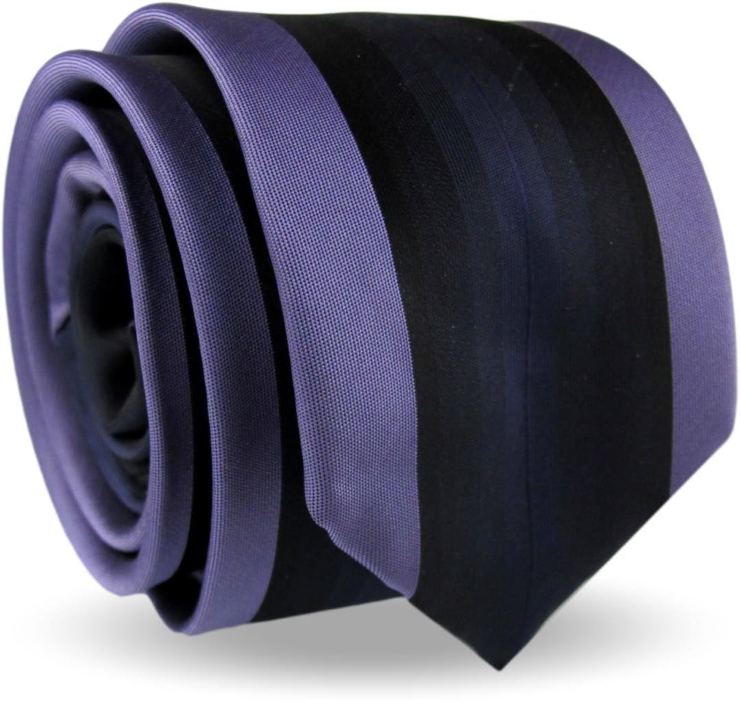 Krawat Męski Elegancki Modny Śledź wąski fioletowy w paski z połyskiem G495