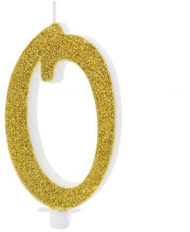 Świeczka cyferka 0 złota brokat 10cm SCU4-0-019
