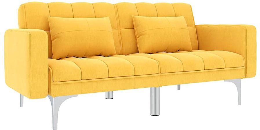 Rozkładana żółta kanapa z poduszkami - Harris