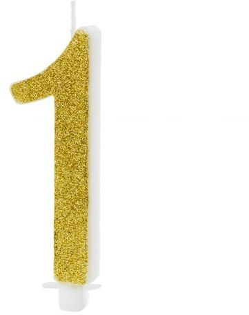 Świeczka cyferka 1 złota brokat 10cm SCU4-1-019