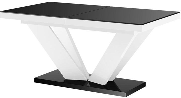 Stół rozkładany VIVA 2 czarno-biały wysoki połysk