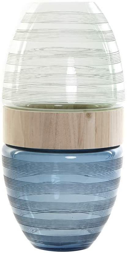 Wazon ze szkła i drewna, granatowy, 21 x 21 x 43 cm (referencja: JV-174995)