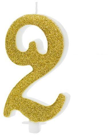 Świeczka cyferka 2 złota brokat 10cm SCU4-2-019