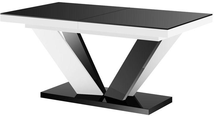 Stół rozkładany VIVA 2 czarno-biały (nogi mieszane) wysoki połysk