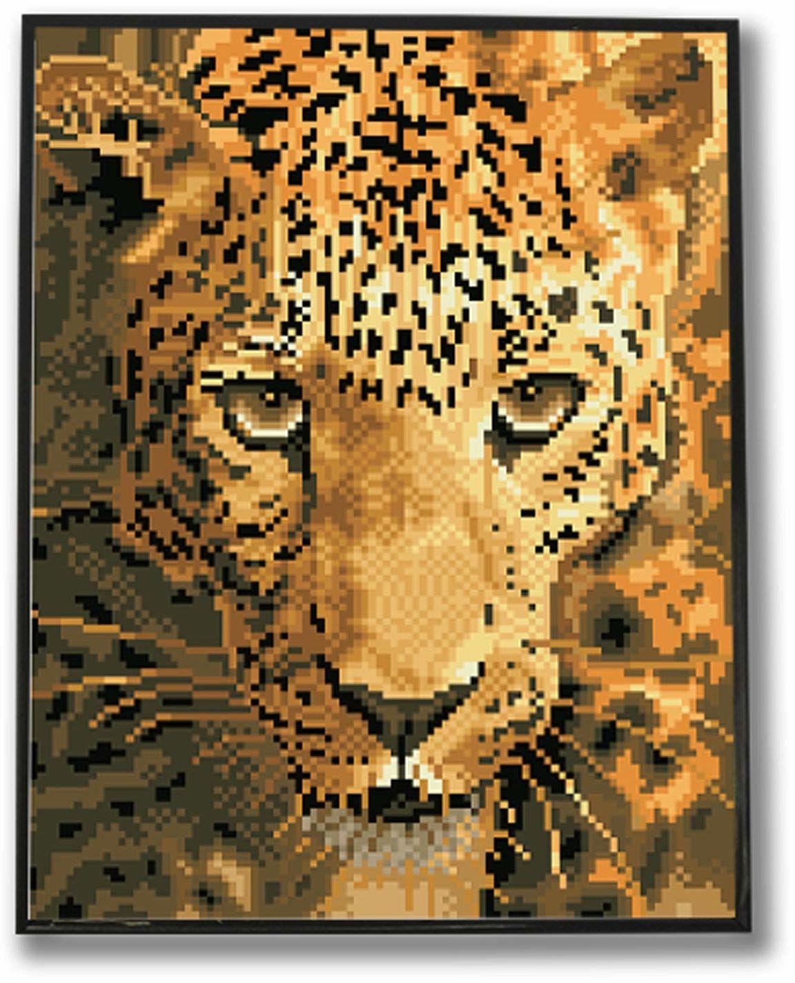 Diamond Dotz DDK6-005 Jaguar Prowl z ramą, ok. 36,7 x 28,7 cm, malowanie diamentowe z diamentami, błyszczący obraz do samodzielnego wykonania, dla dzieci i dorosłych, kolorowe
