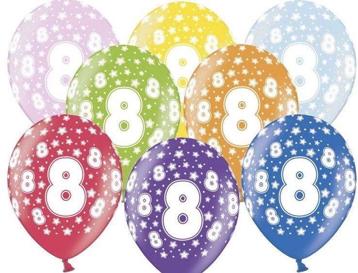 Balony 8 na ósme urodziny 6 sztuk SB14M-008-000-6