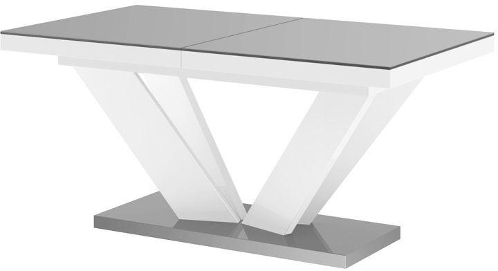 Stół rozkładany VIVA 2 szaro-biały wysoki połysk