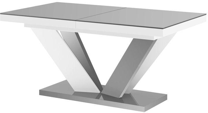 Stół rozkładany VIVA 2 szaro-biały (nogi mieszane) wysoki połysk