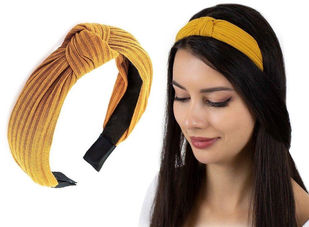 Opaska do włosów musztardowa węzeł szeroka turban