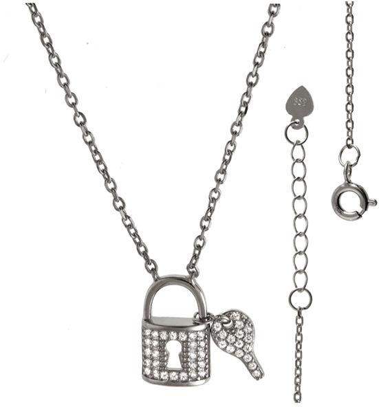 Srebrny naszyjnik 925 kłódka klucz 3,7g