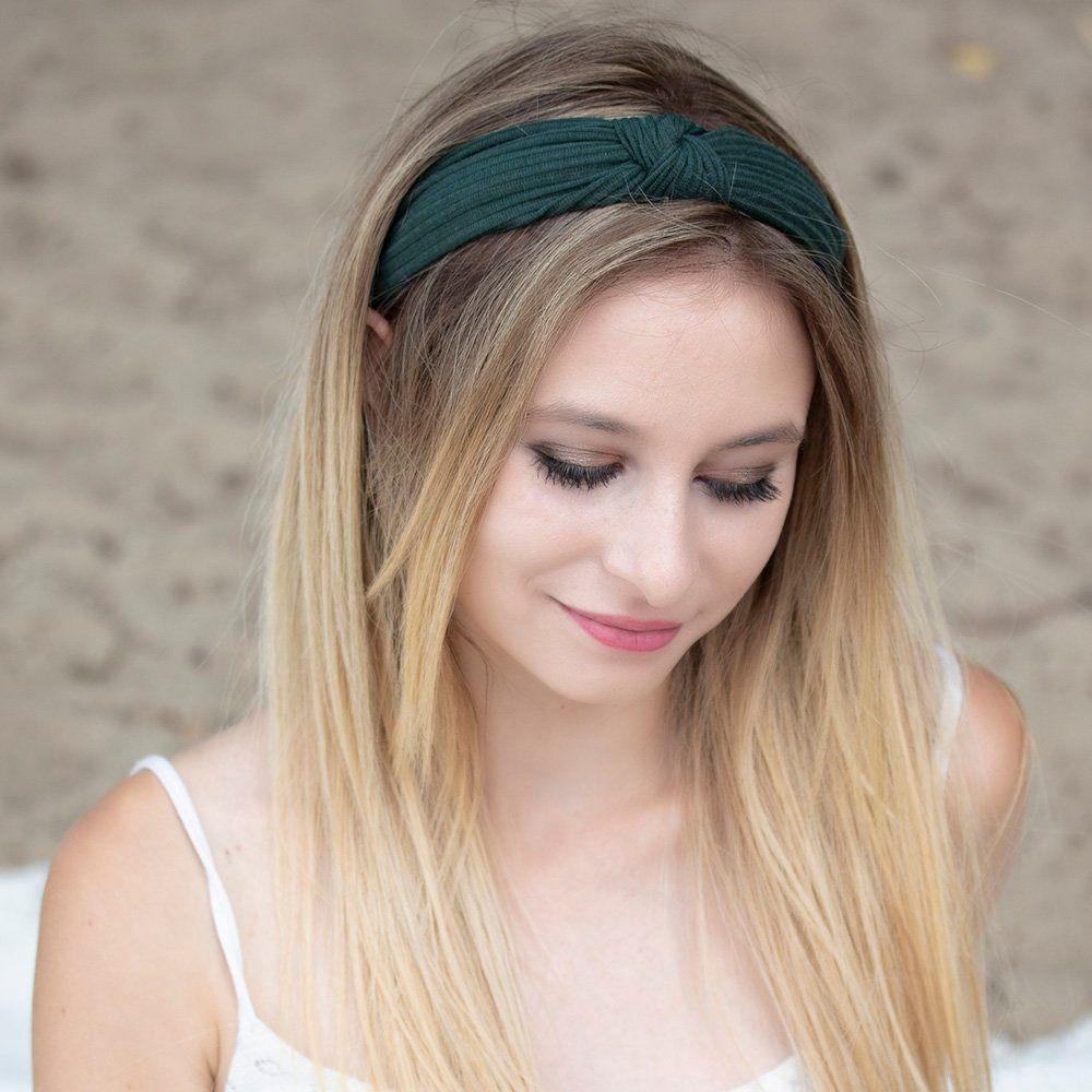 Opaska do włosów zielona węzeł szeroka turban