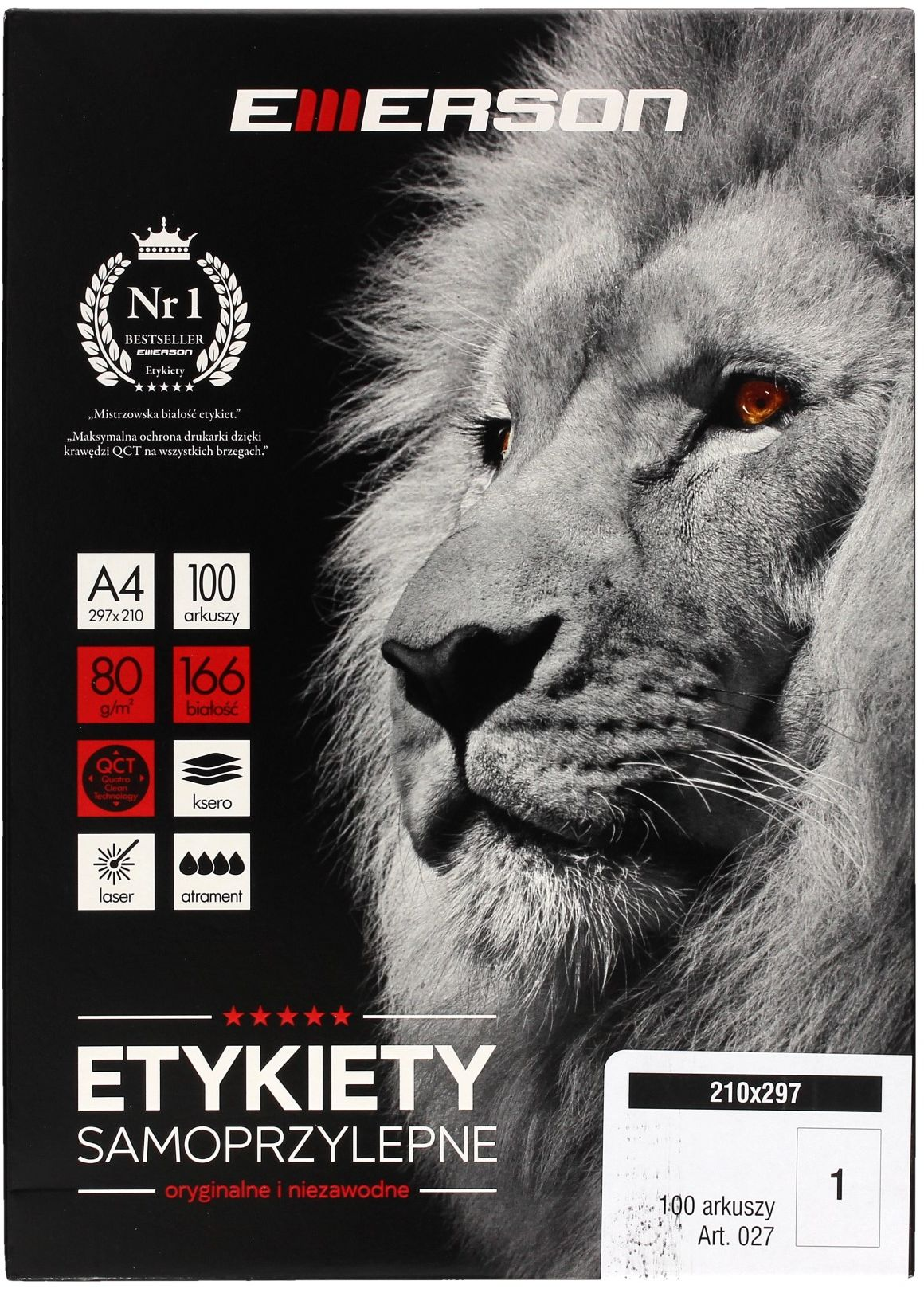 Etykiety uniwersalne 210x297/1 białe Emerson (100)
