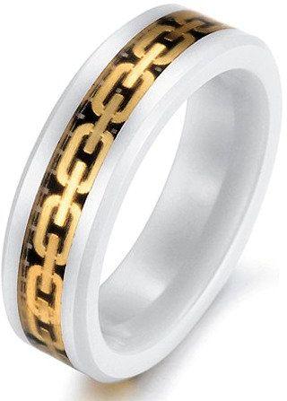 Biała Ceramiczna Obrączka ze Złotymi Motywami