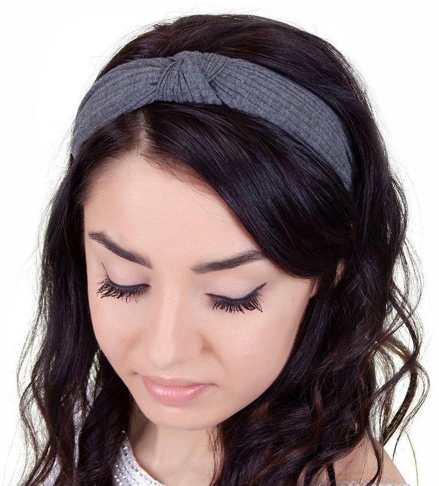 Opaska do włosów grafitowa węzeł szeroka turban