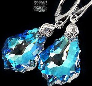 Jedyne! Kryształy Przepiękne Kolczyki Blue Aurora